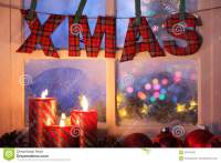 Frosted Window With Christmas Decoration Stock Photography ...