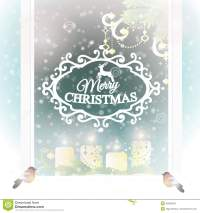 Frosted Window With Christmas Decoration. Stock Vector ...
