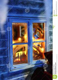 Frosted Window With Christmas Decorations Stock Photo ...