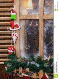 Frosted Window With Holiday Decorations Stock Photo ...
