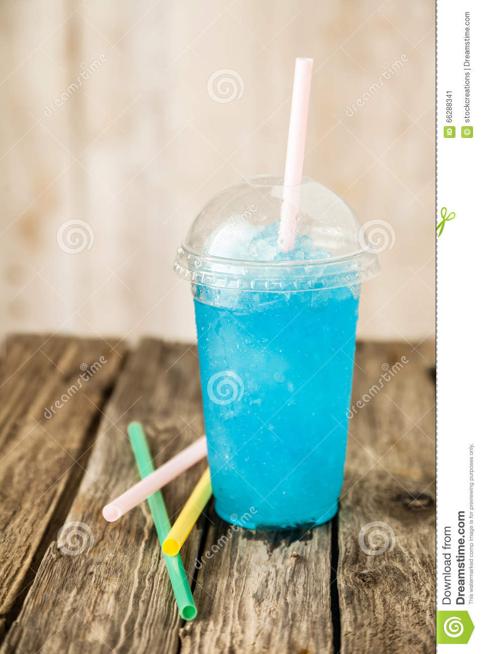 3d Liquid Abstract Wallpaper Frozen Blue Slushie In Plastic Cup With Straw Stock Photo