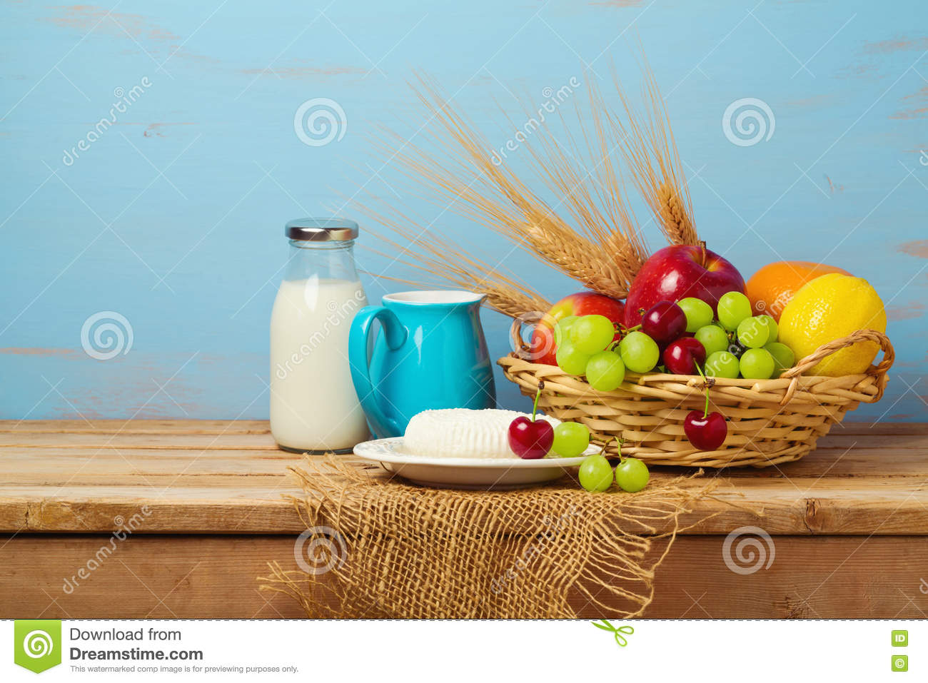 Table Top Fruit Basket Fruit Basket And Dairy Products On Wooden Table Jewish