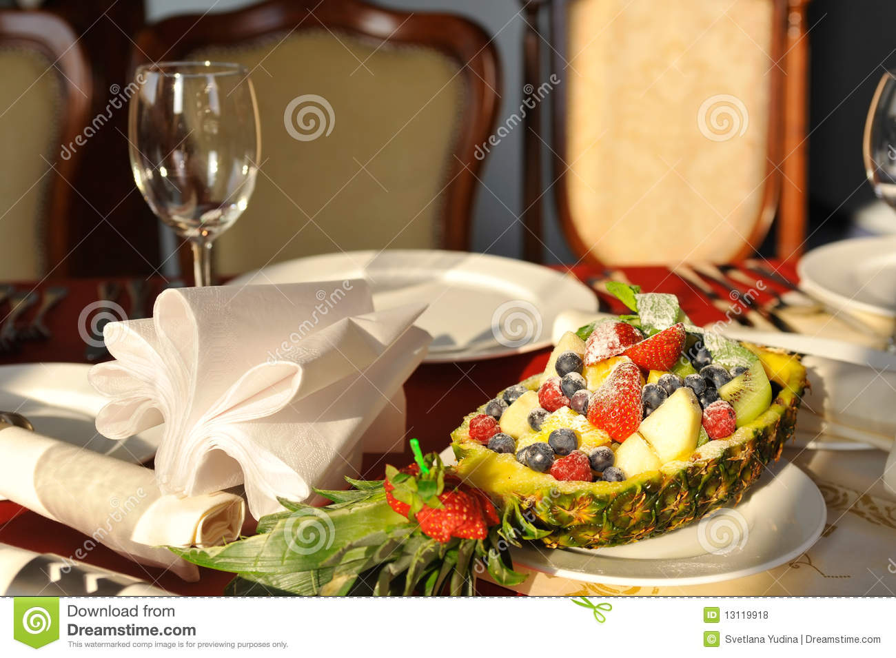 Table Top Fruit Basket Fruit Basket On The Set Table Royalty Free Stock Photos