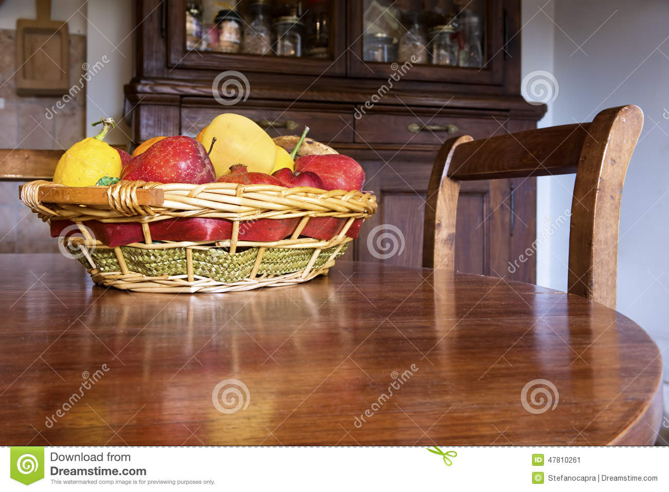 Table Top Fruit Basket Fruit Basket On The Table Stock Image Image Of Apple
