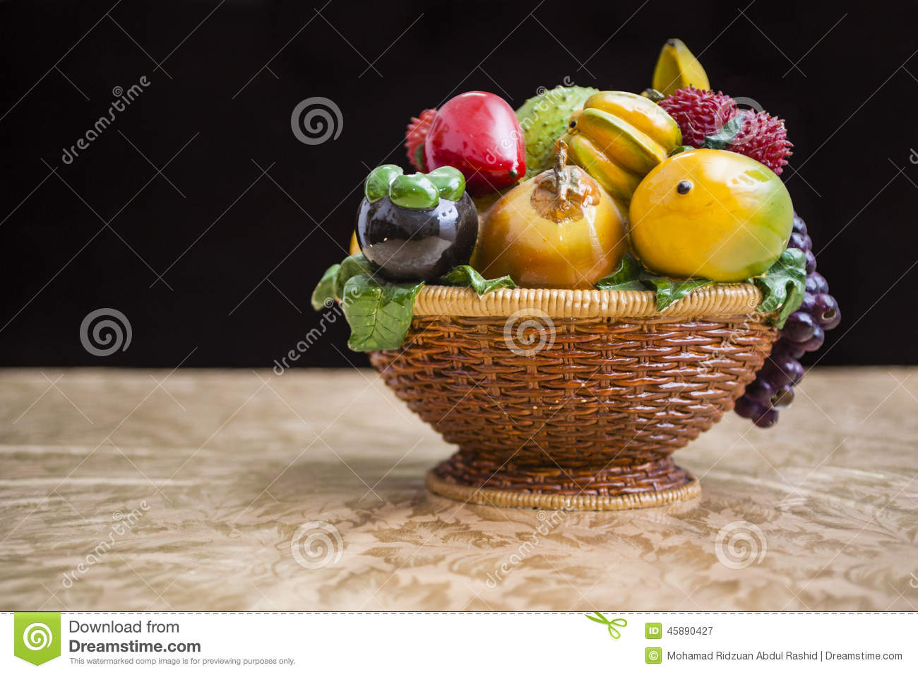 Table Top Fruit Basket Fruit On Table Stock Photo Image 45890427