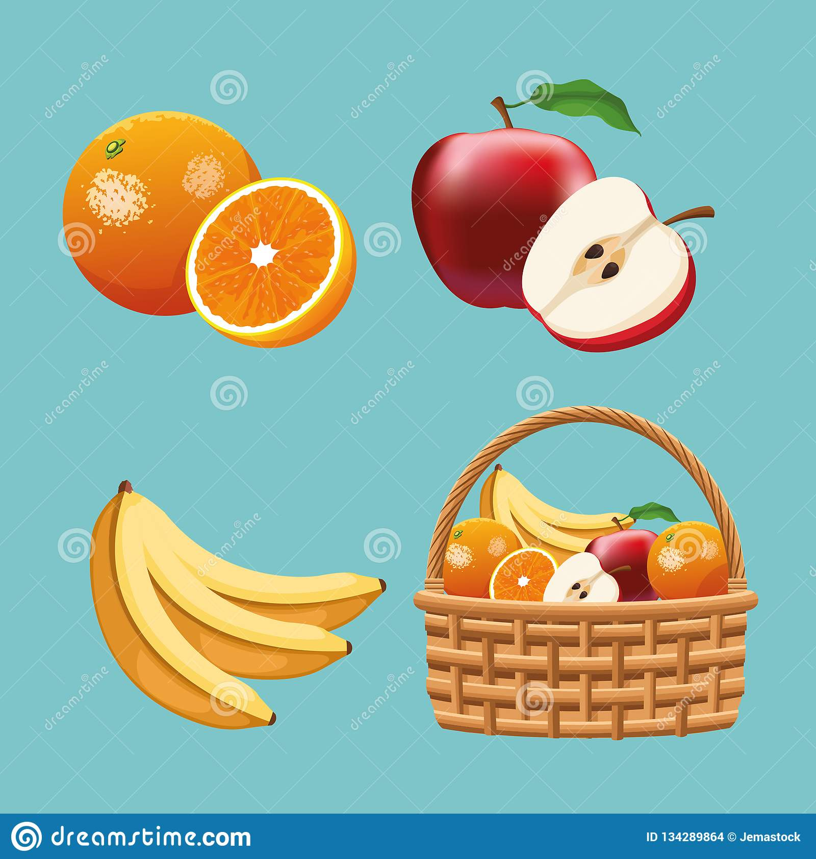 Designer Fruit Basket Fruits In Basket Stock Vector Illustration Of Freshness