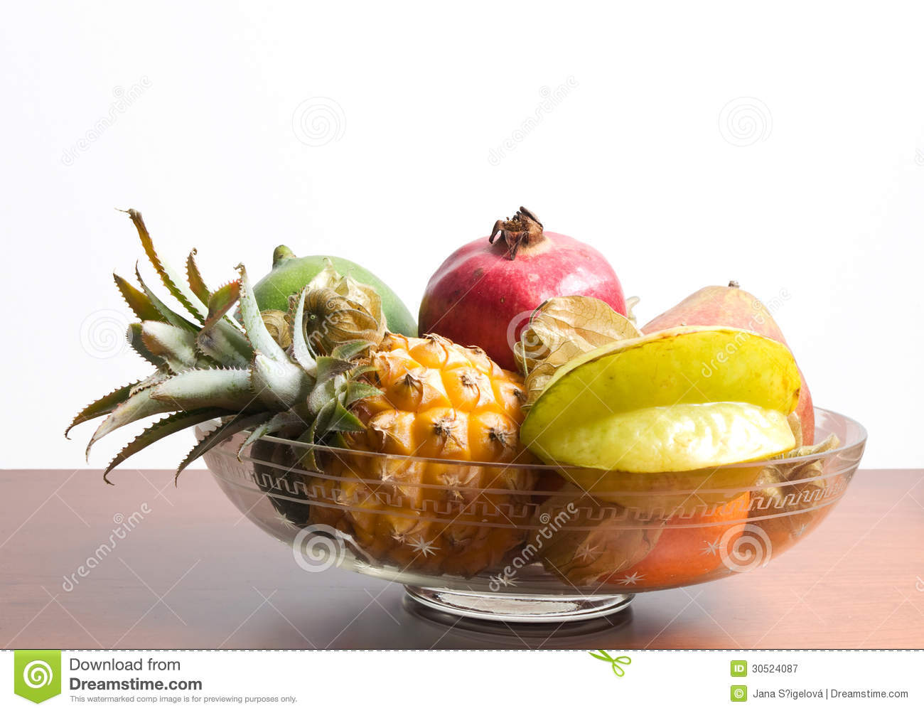 Unusual Fruit Bowls Fruits On Glass Bowl Royalty Free Stock Photography