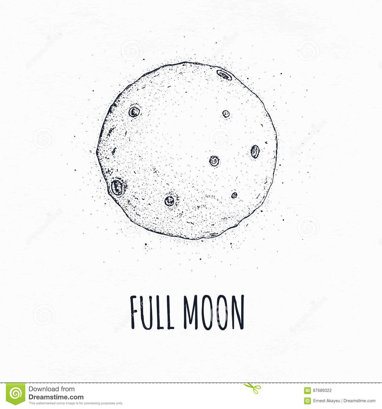 Full Moon Drawing Black And White Full Moon In Outer Space With Lunar Craters Logo Hand Drawn