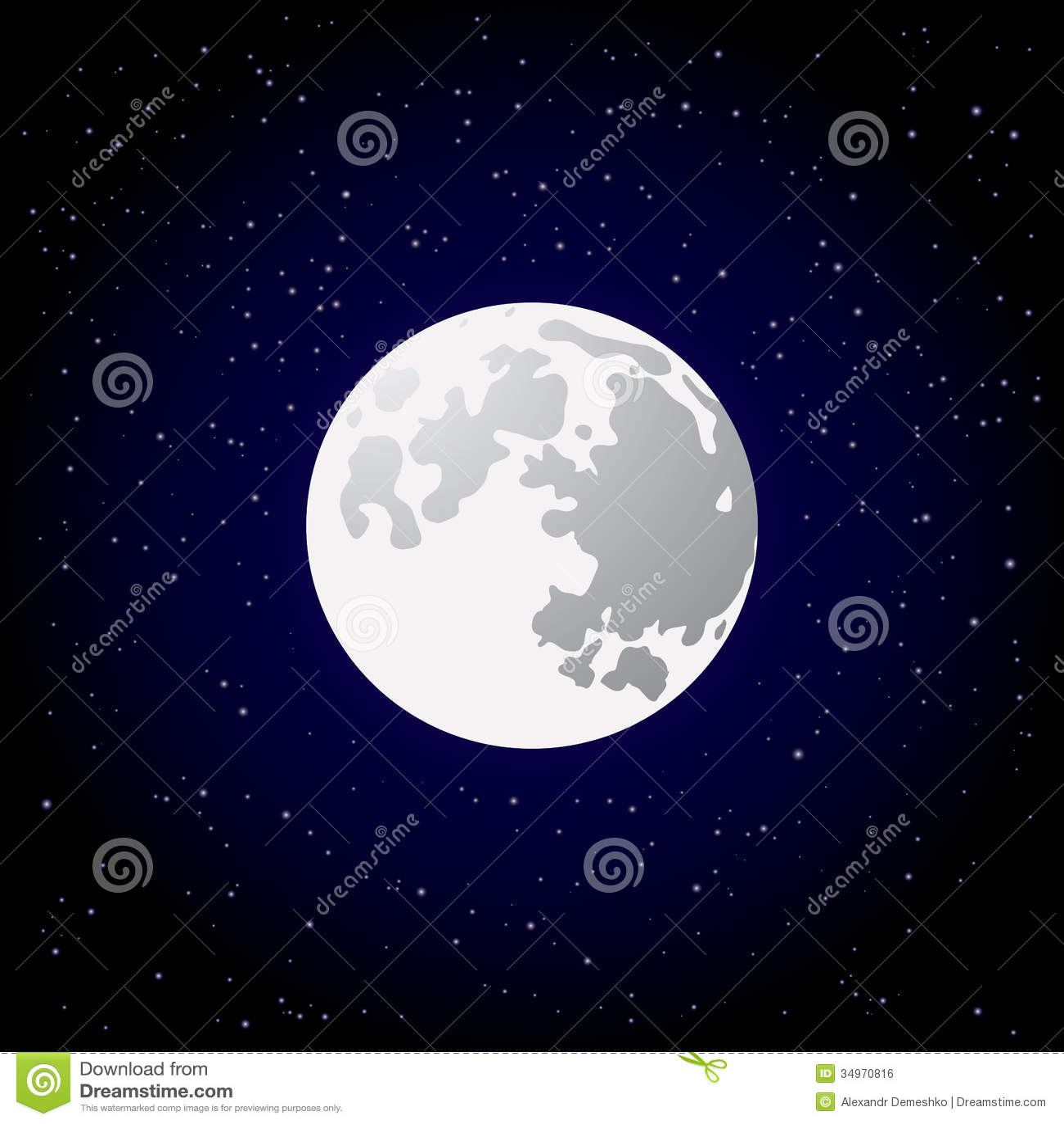 Cute Tribal Print Wallpaper Full Moon And Shining Stars On Dark Blue Sky Stock Vector