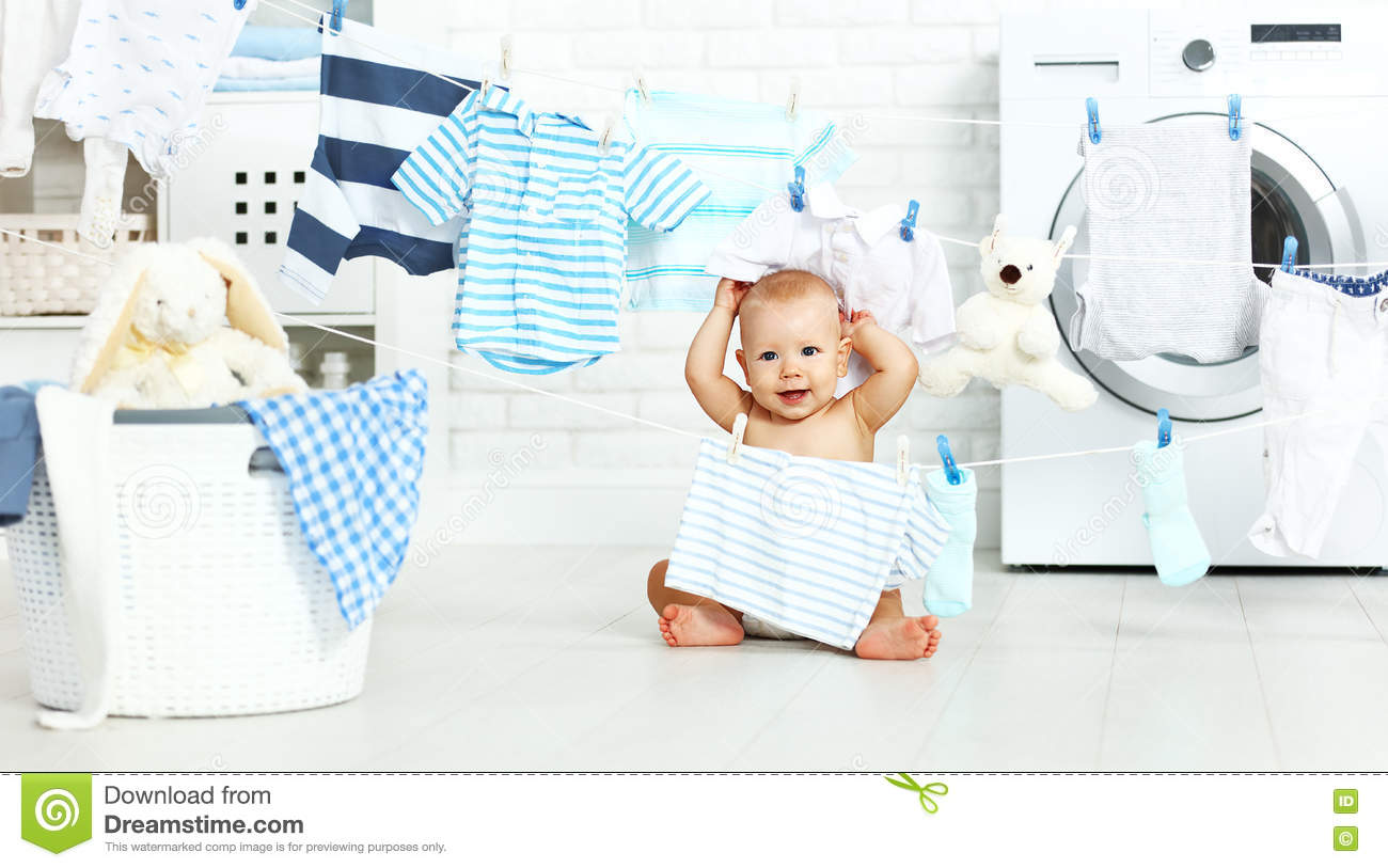 Laundry Bag For Baby Clothes Fun Happy Baby Boy To Wash Clothes And Laughs In Laundry