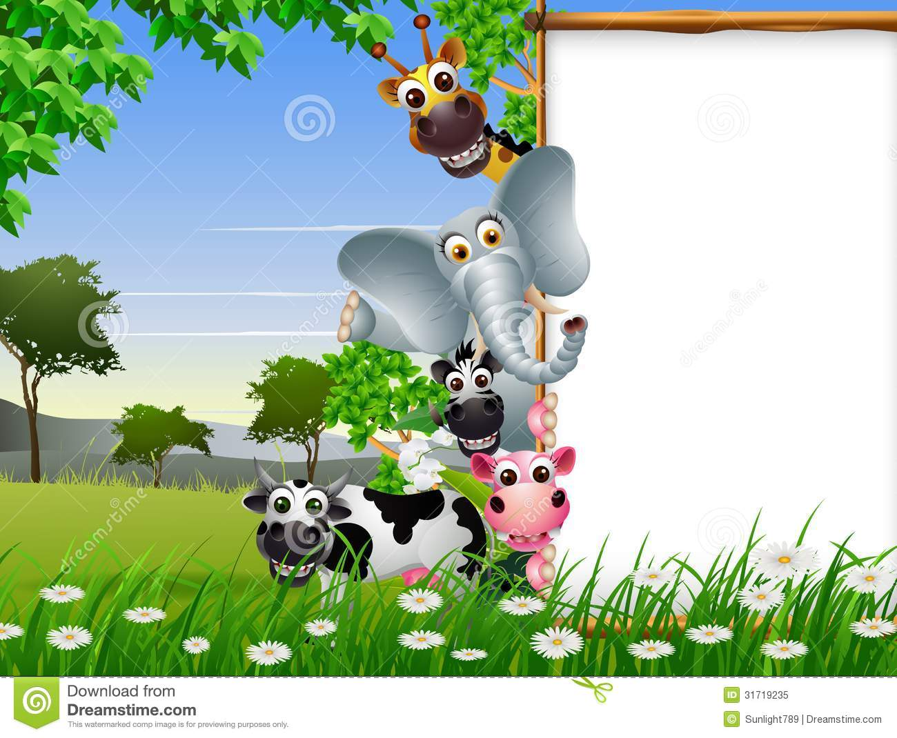 Jungle Animal Wallpaper Funny Animal Cartoon Collection With Blank Sign And