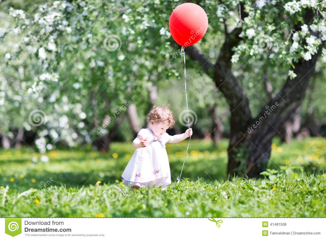 Girl Reading Book Wallpapers Funny Baby Girl In Apple Tree Garden With Red Ballon Stock