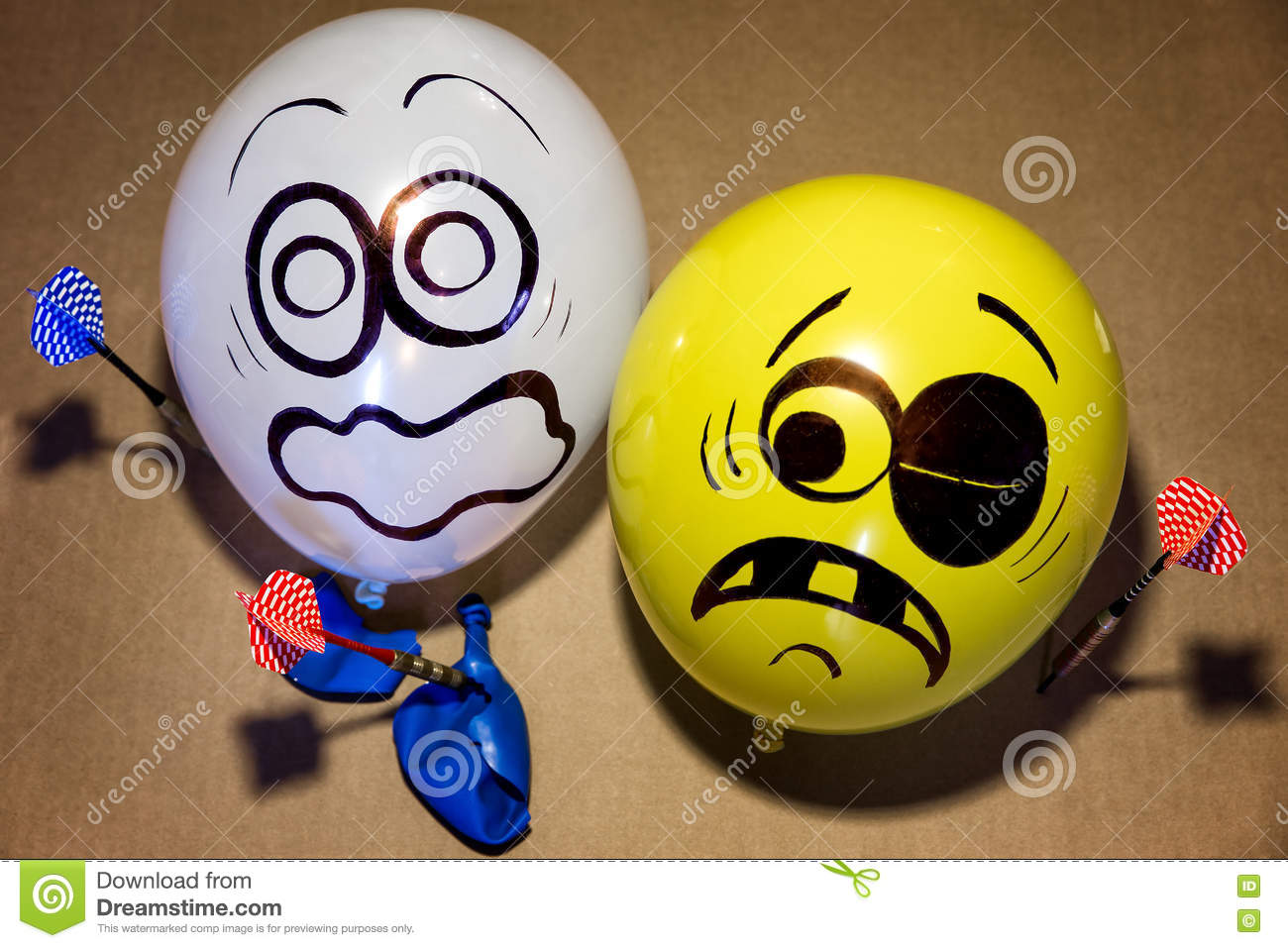 Funny balloon faces are scared