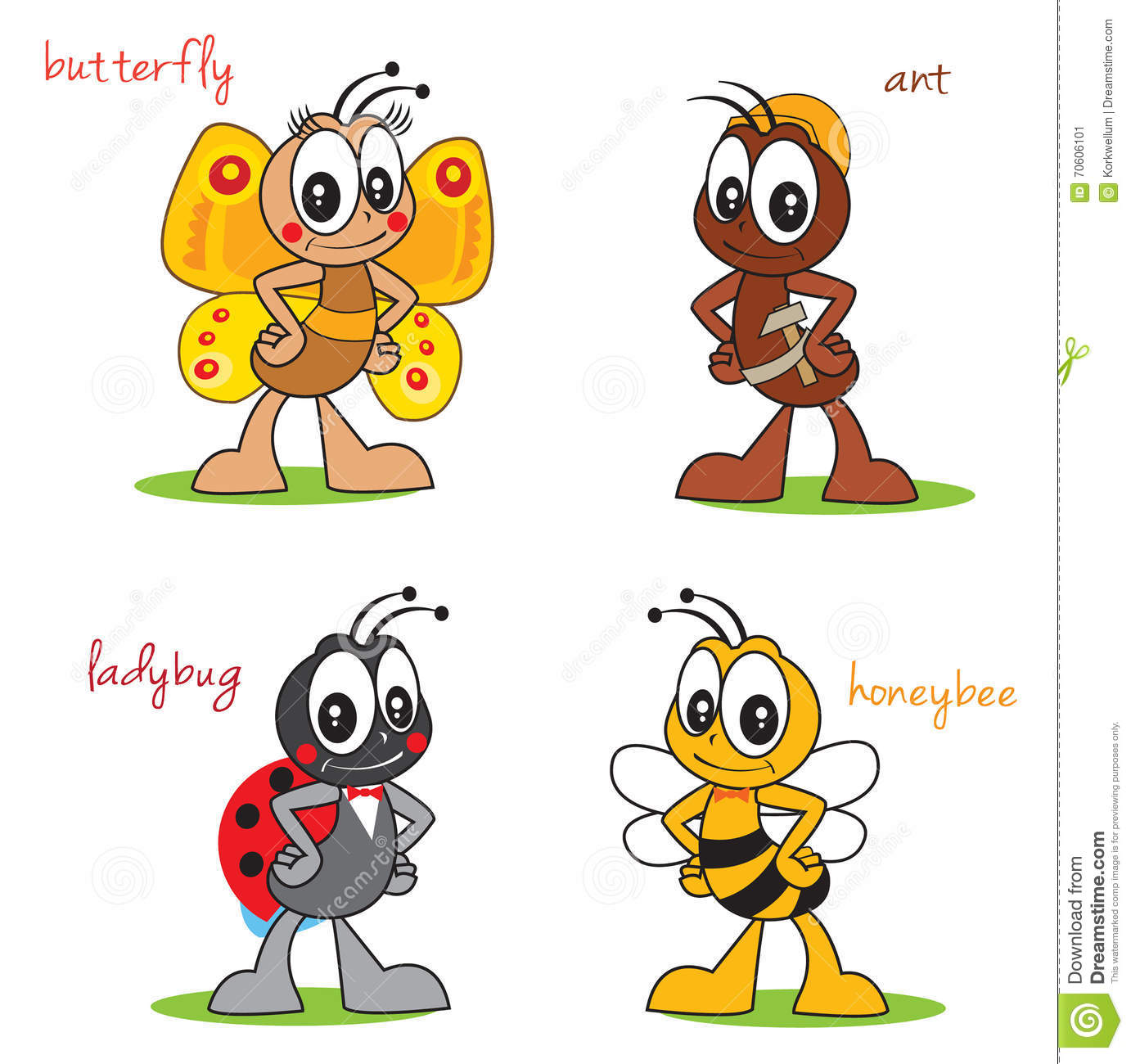 Cartoon Witzige Funny Cartoon Characters Insects Beautiful Butterfly Ant Build