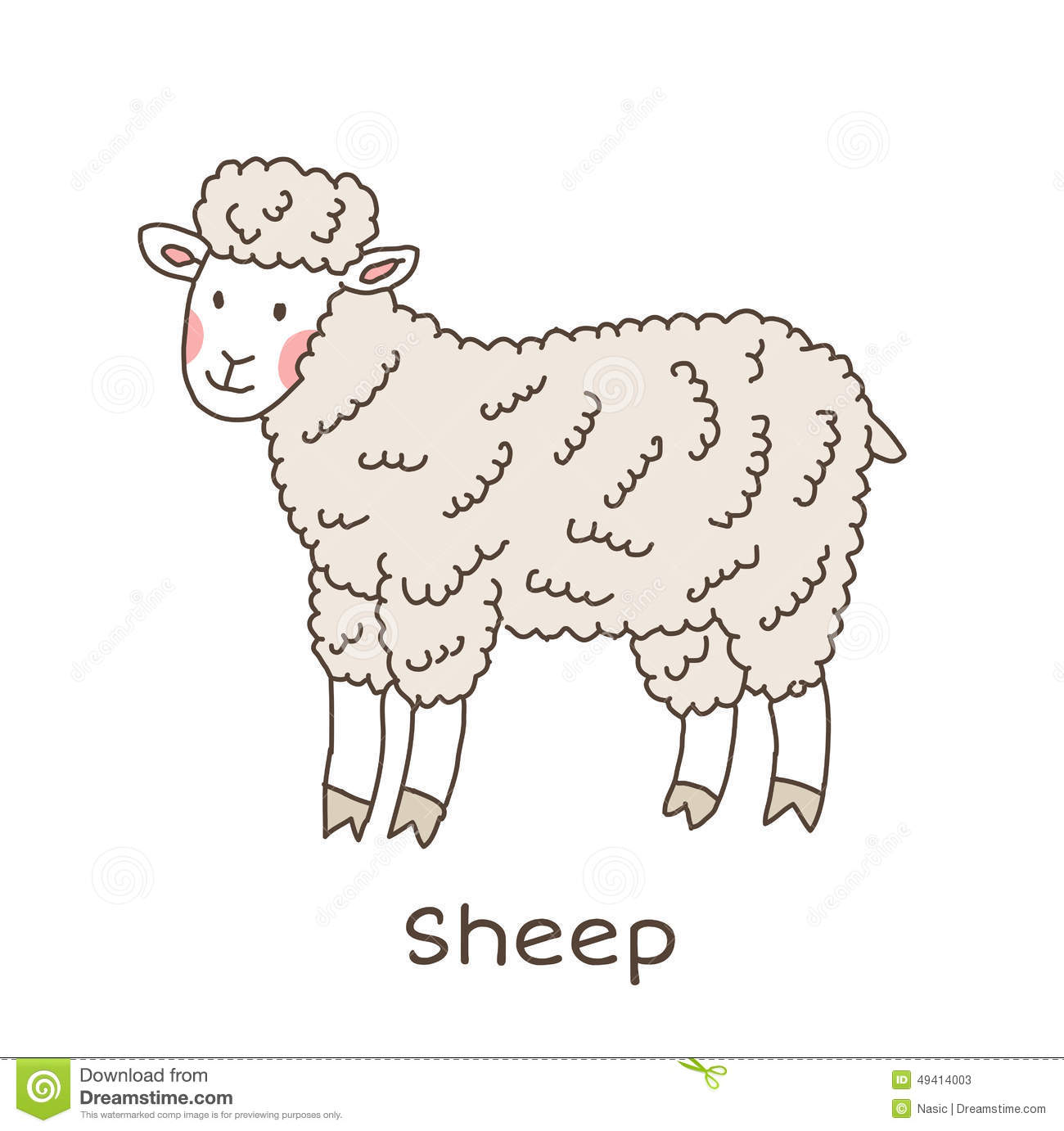 Cute Sheep Drawing Tumblr Funny Cartoon Sheep Children Illustration Stock Vector