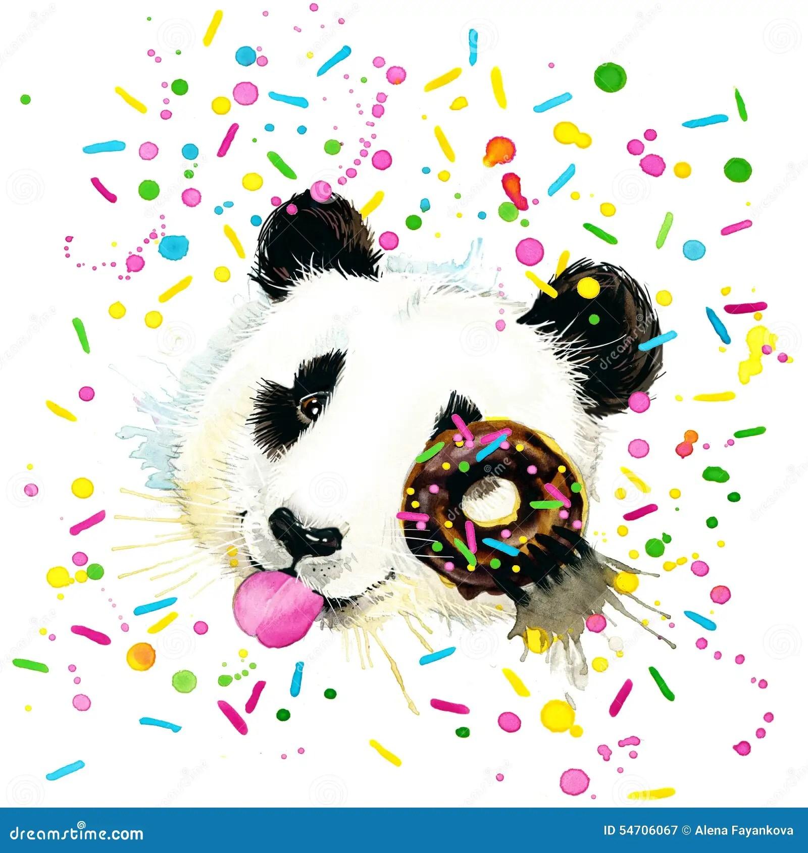 Cute Pooh Bear Wallpapers Funny Panda Bear Watercolor Illustration Stock