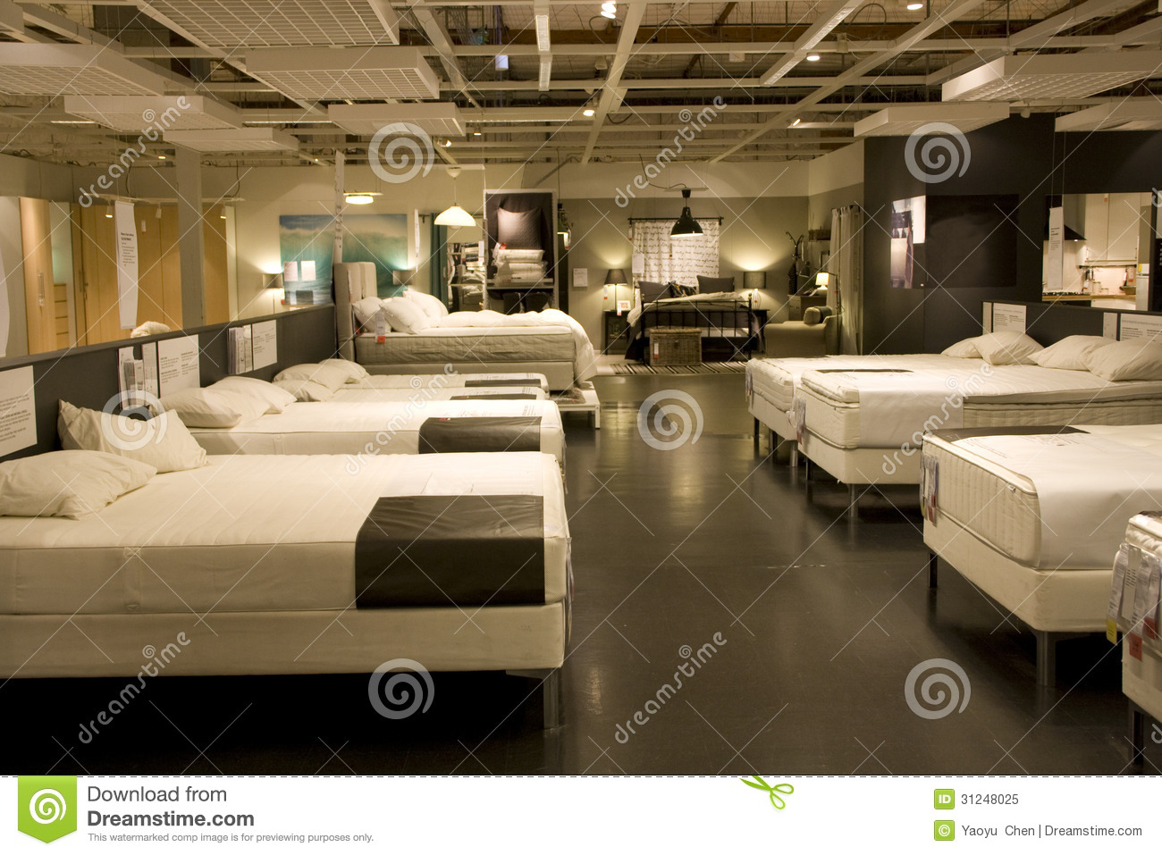Beds Warehouse Furniture Mattress Bed Store Royalty Free Stock Photo