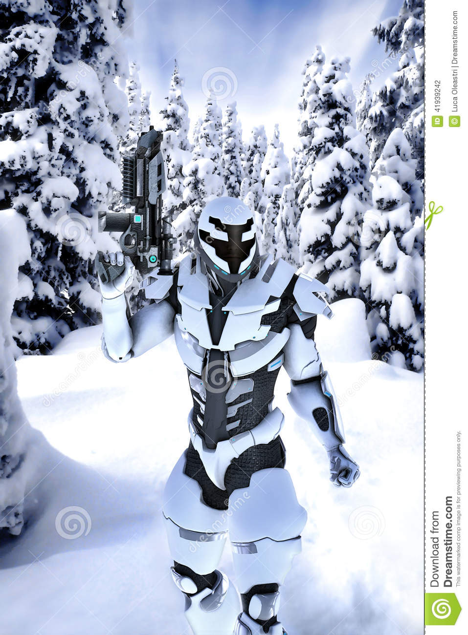 Earth And Moon 3d Wallpaper Futuristic Soldier In A Wood With Snow Stock Illustration
