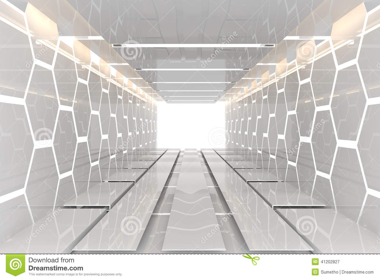Wallpaper 3d Abstract White Futuristic White Hexagon Room Stock Illustration Image