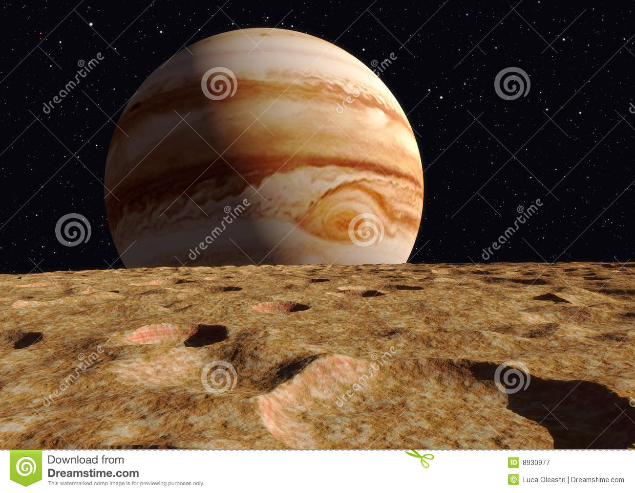 Solar System 3d Wallpaper Ganymede Moon Jupiter Royalty Free Stock Photography