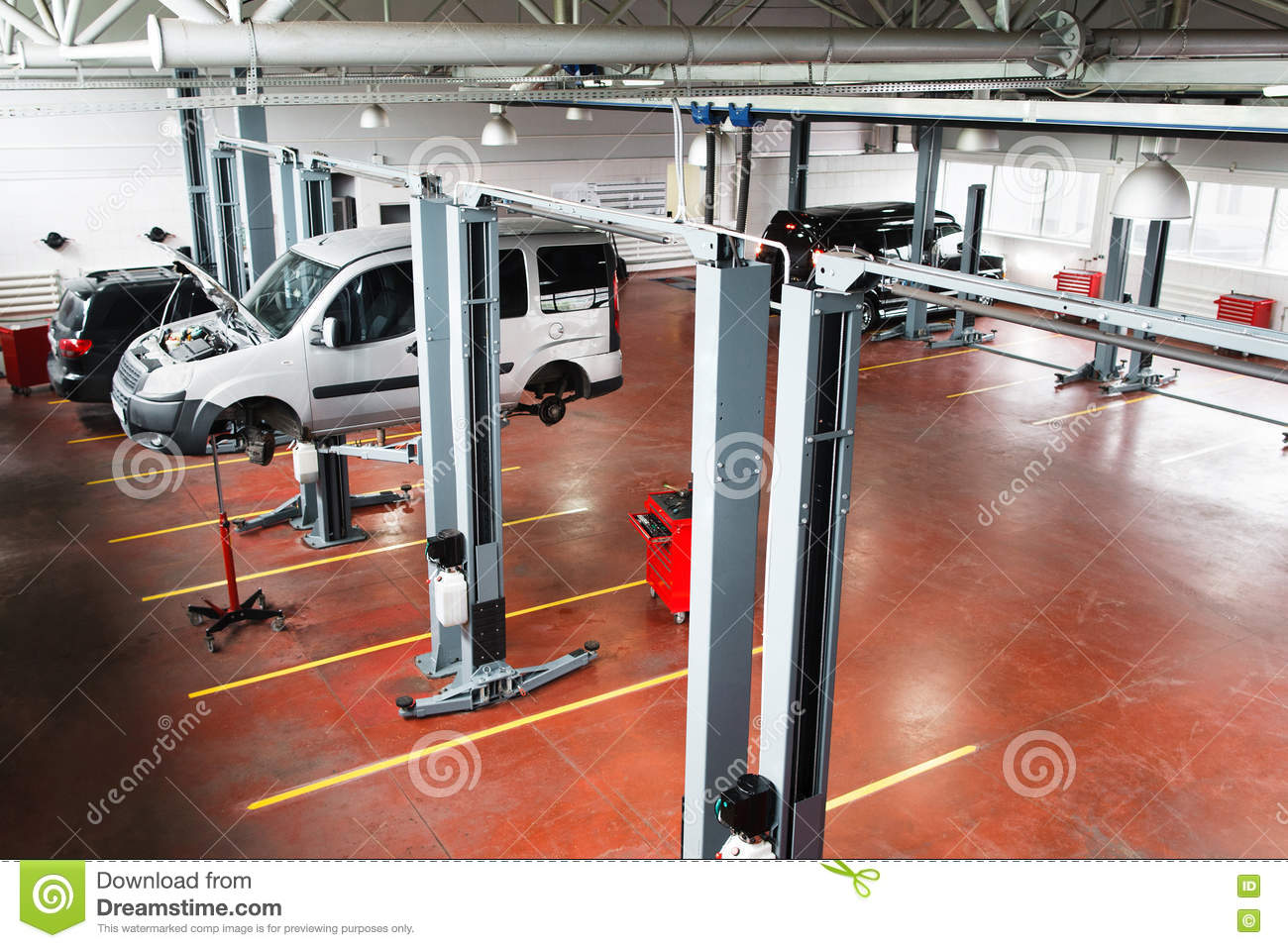 Garage Gym With Car Garage With Cars On Service Or Repairing Top View Stock Image