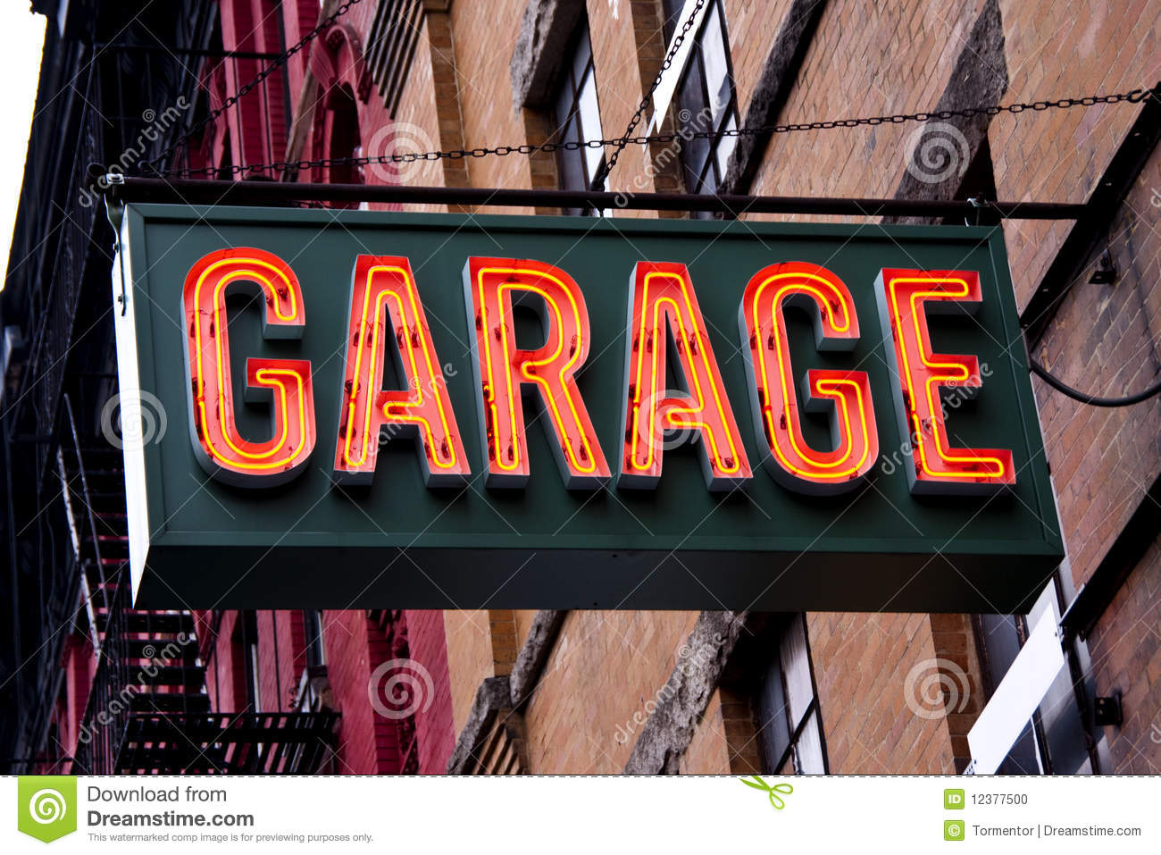 Garage Art Neon Signs Garage Neon Sign Stock Photo Image 12377500