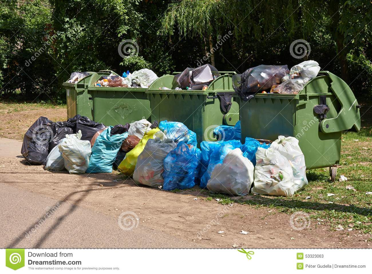 Big W Rubbish Bin Garbage Containers Full Overflowing Stock Image Image