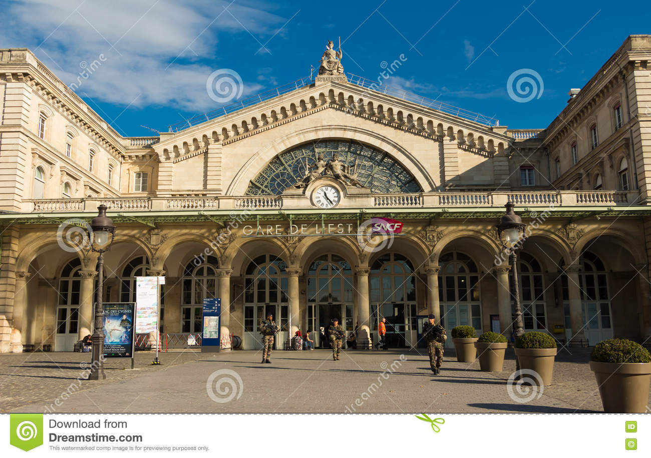 Gare De Paris The Gare De L Est Railway Station Paris France Editorial Image