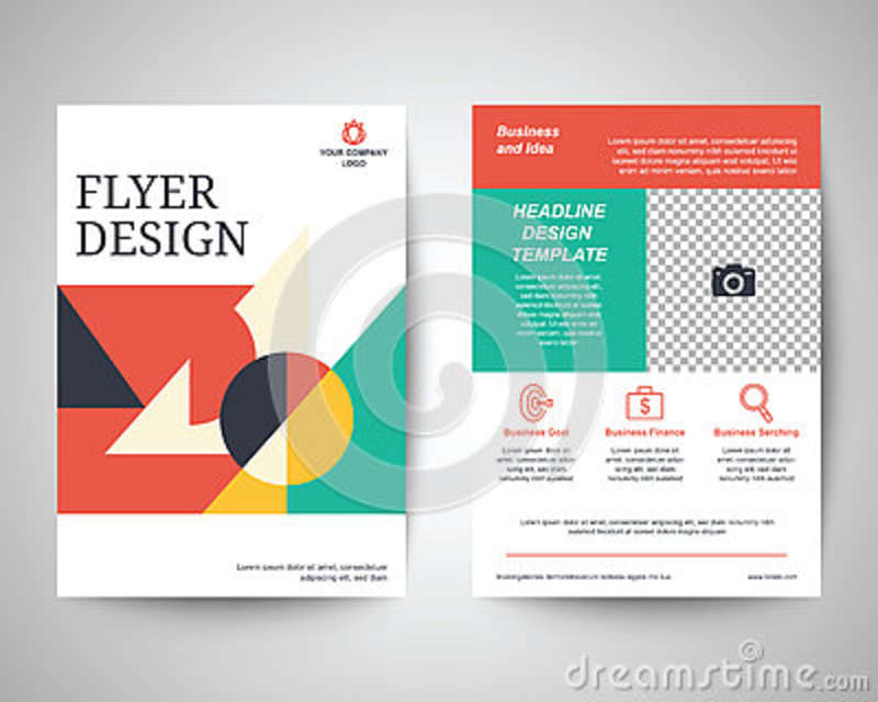 Geometric Abstract Shapes Flyer A4 Template Stock Vector
