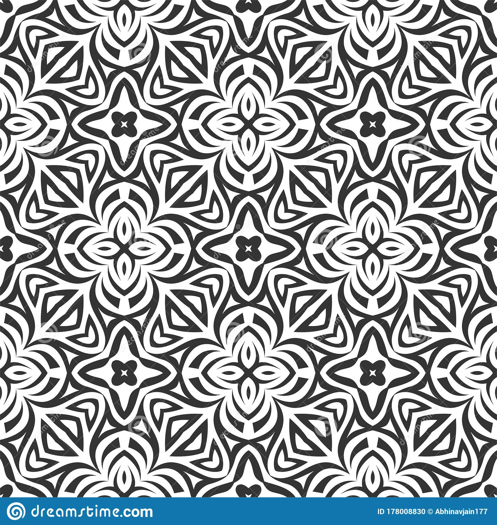 Geometric Flower Pattern Black N White Bold Lines Floral Pattern Texture Background In Vector Stock Vector Illustration Of Geometric Lines 178008830