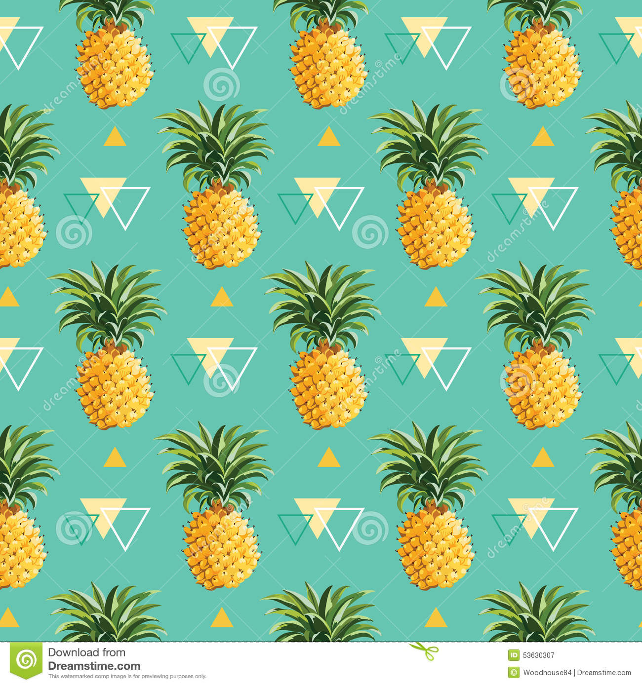 Cute Wallpapers Green Mint Geometric Pineapple Background Stock Vector Illustration