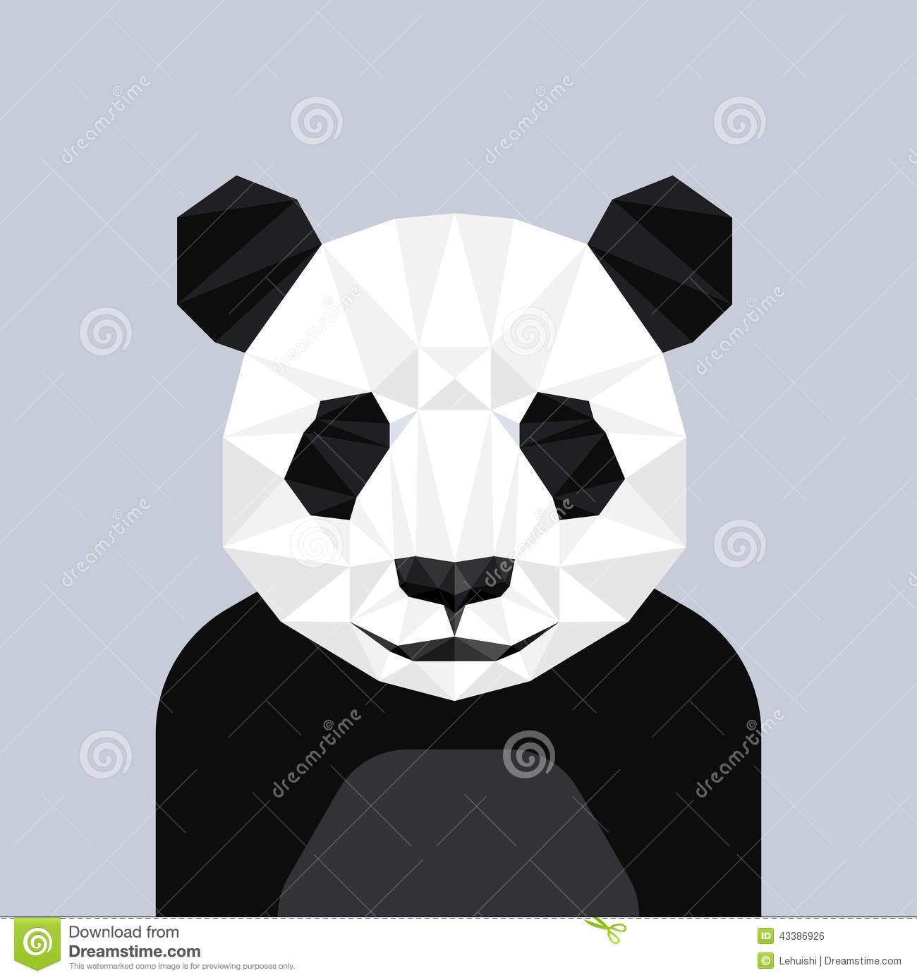 3d Geometric Shapes Wallpaper White Geometric Polygon Panda Head Triangle Pattern Stock