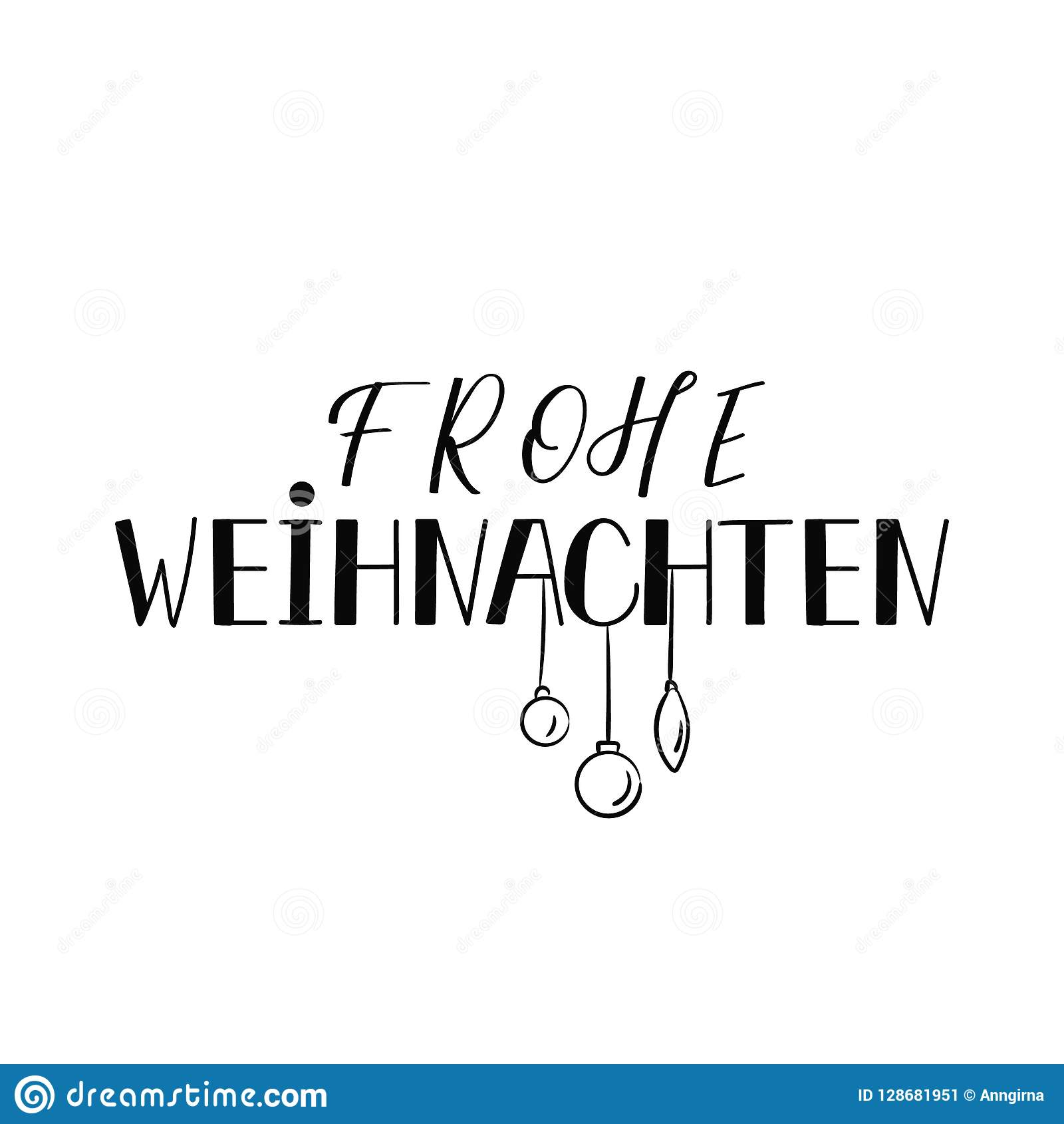 Design Weihnachten German Text Merry Christmas Lettering Banner Calligraphy