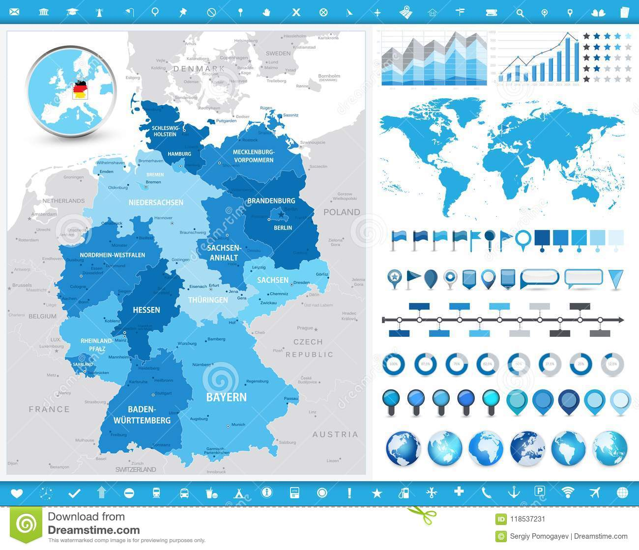 Elements Augsburg Germany Map And Infographic Elements Stock Vector Illustration