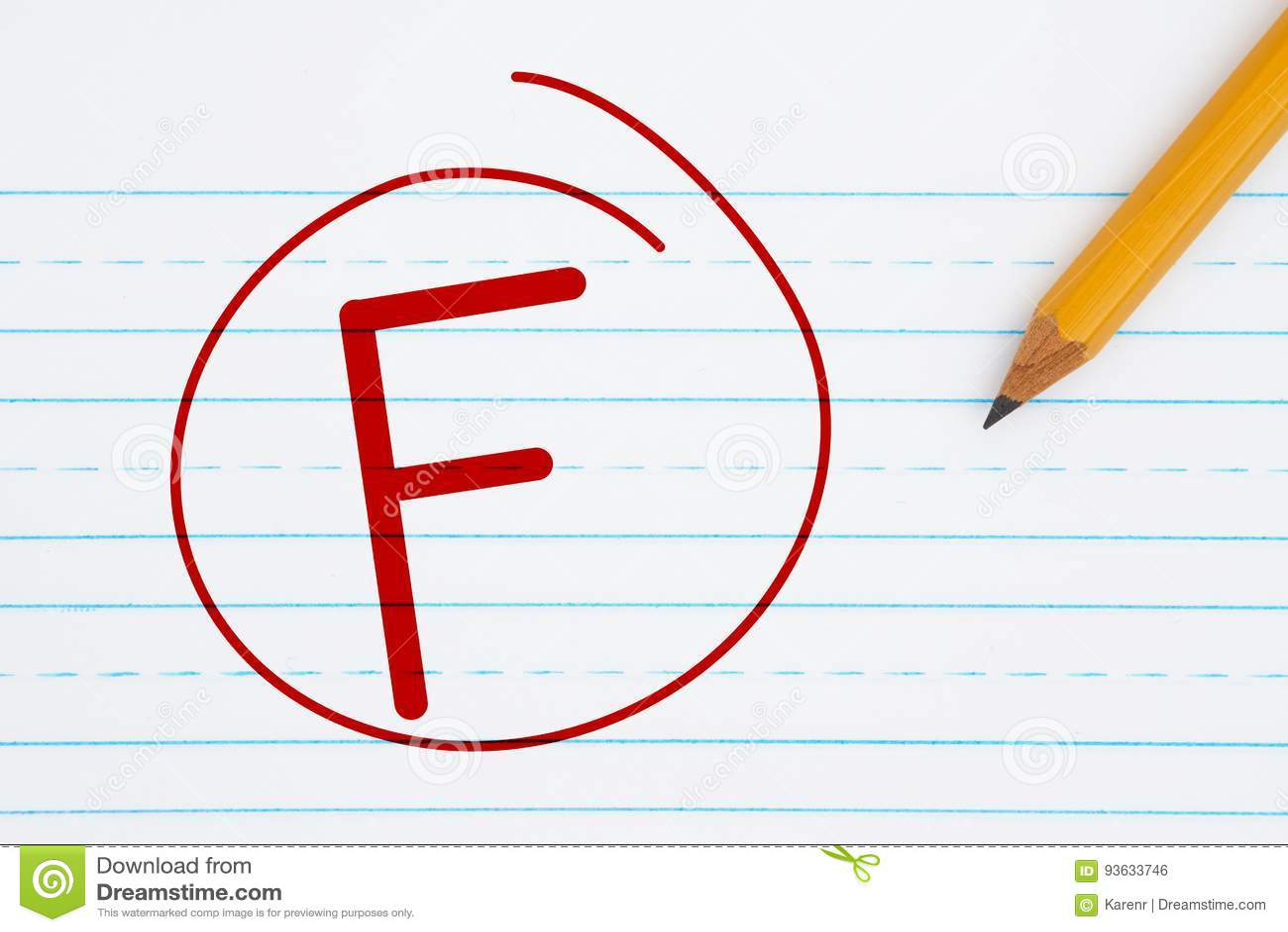 Getting A Grade F A Failing Grade Stock Photo - Image of grade, type
