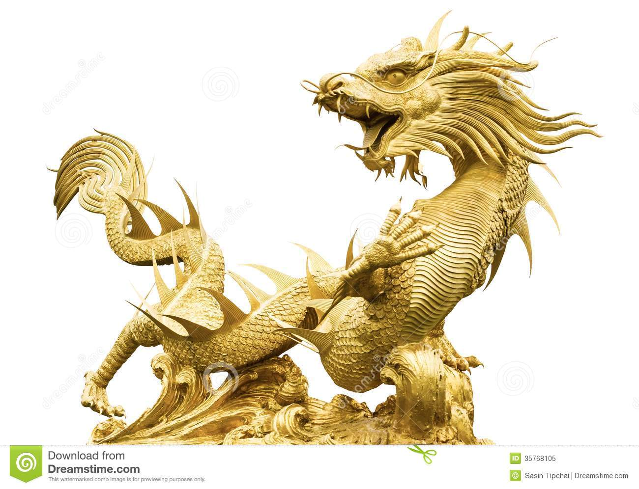 Giant Dragon Statue Giant Golden Chinese Dragon Stock Image Image 35768105