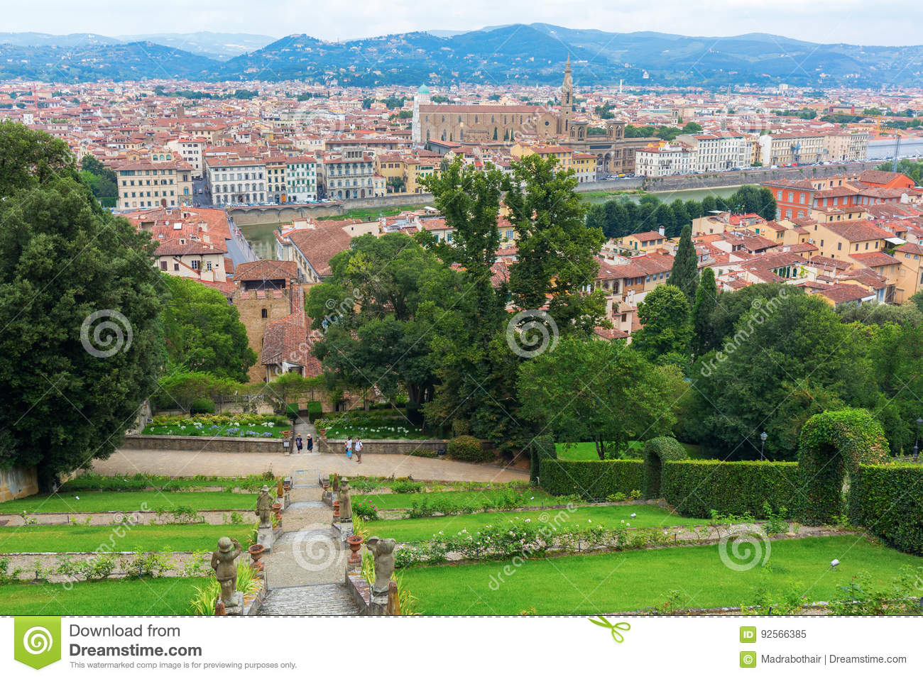 Giardino Italian Giardino Bardini With View Over Florence Italy Editorial Image
