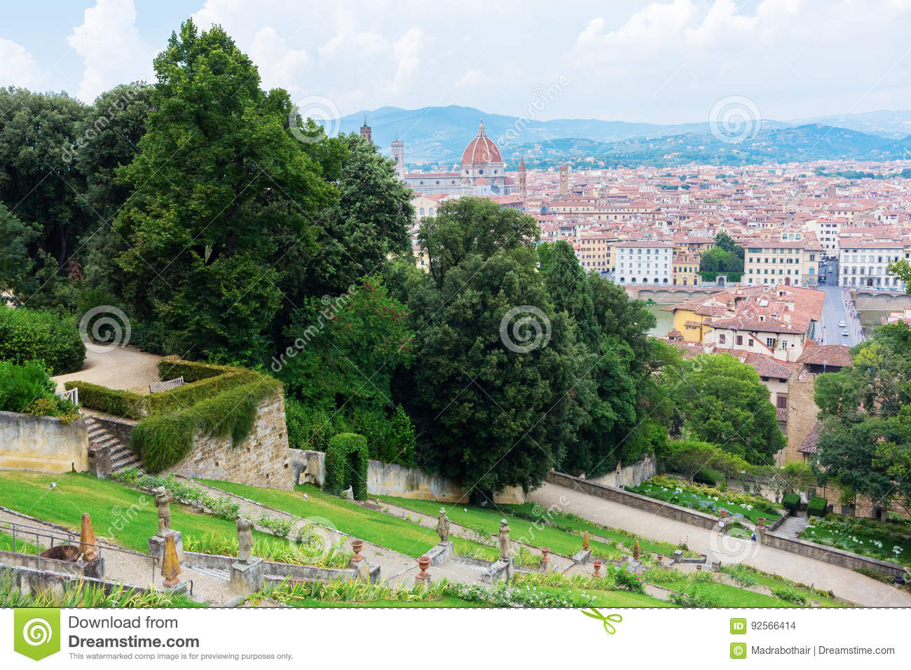 Giardino Italian Giardino Bardini With View Over Florence Italy Editorial Stock