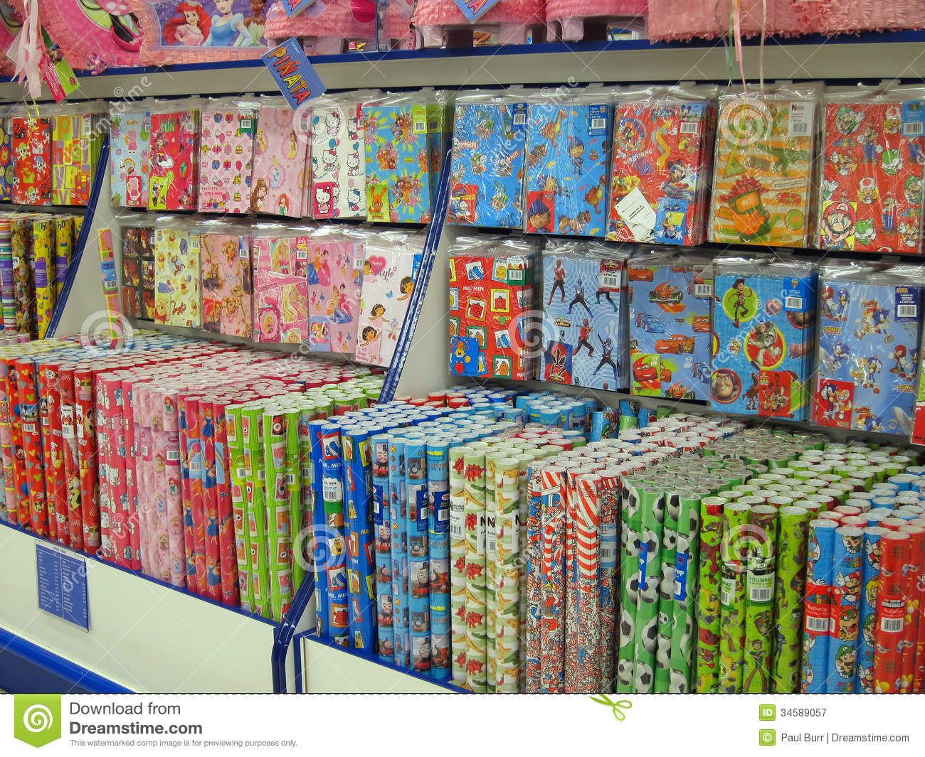 Paper Shop Gift Wrap Or Wrapping Paper For Sale Editorial
