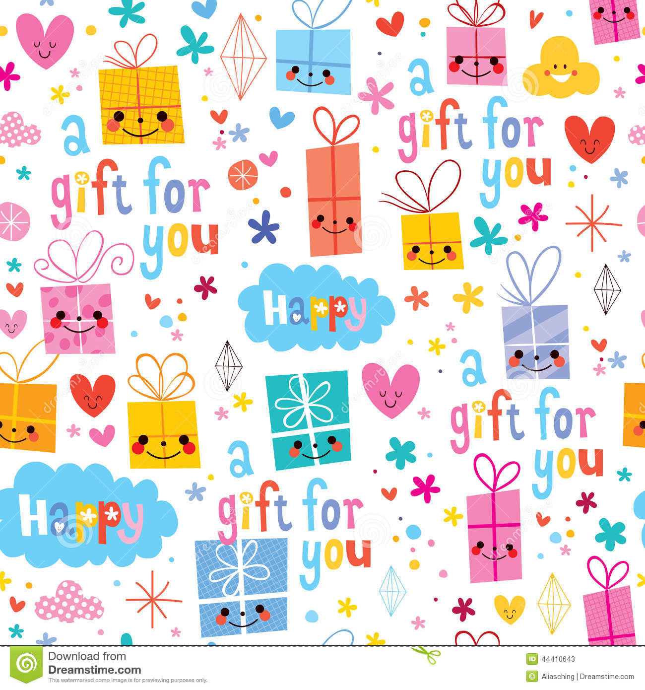 Cute Baby With Teddy Bear Wallpapers Gift Wrapping Paper Cartoon Seamless Pattern Stock Vector