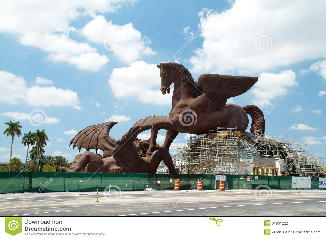 Giant Dragon Statue Gigantic Statute Of Pegasus Slaying The Dragon Editorial