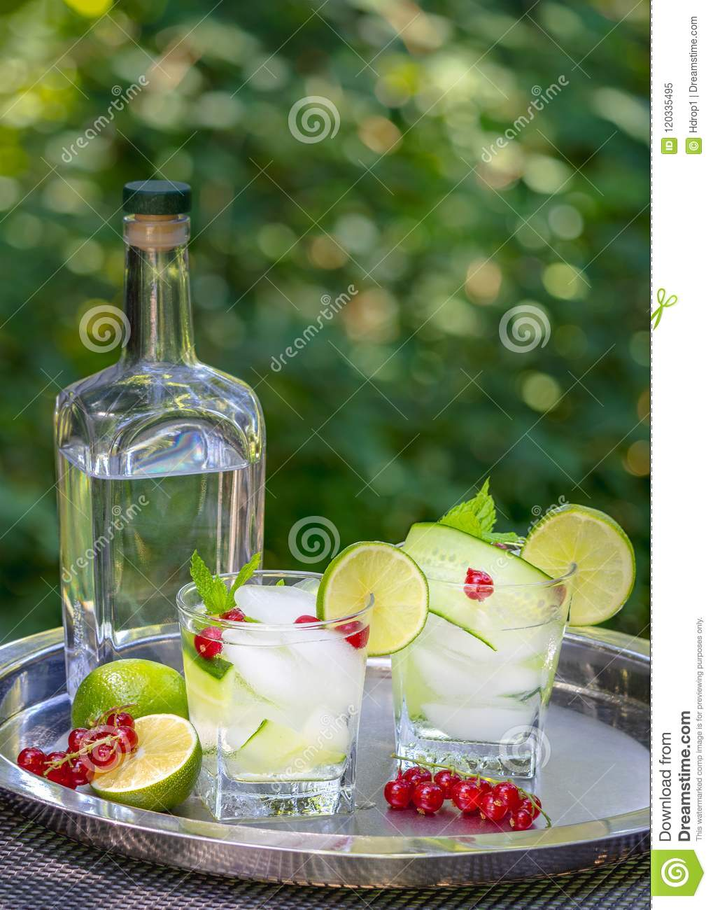 Gin Cocktails Gin Cocktails With Cucumber In The Garden Stock Image Image Of