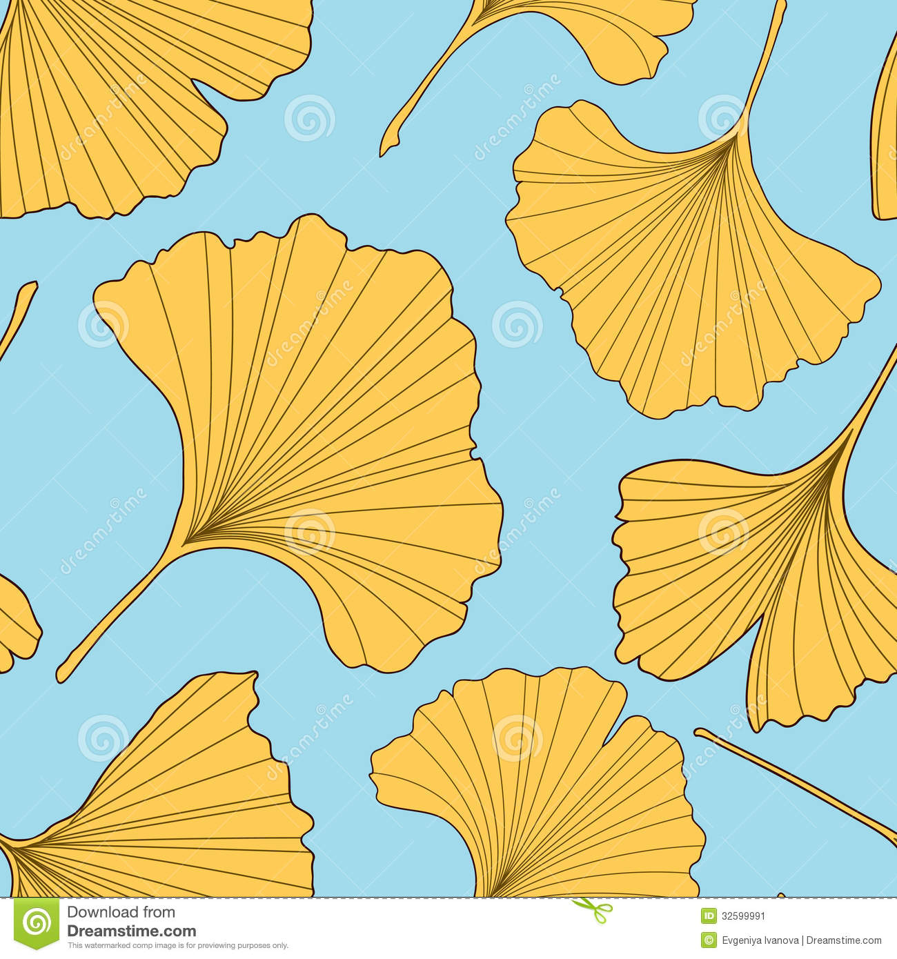 Falling Leaves Wallpaper Free Download Ginkgo Leaves Seamless Pattern Stock Image Image 32599991