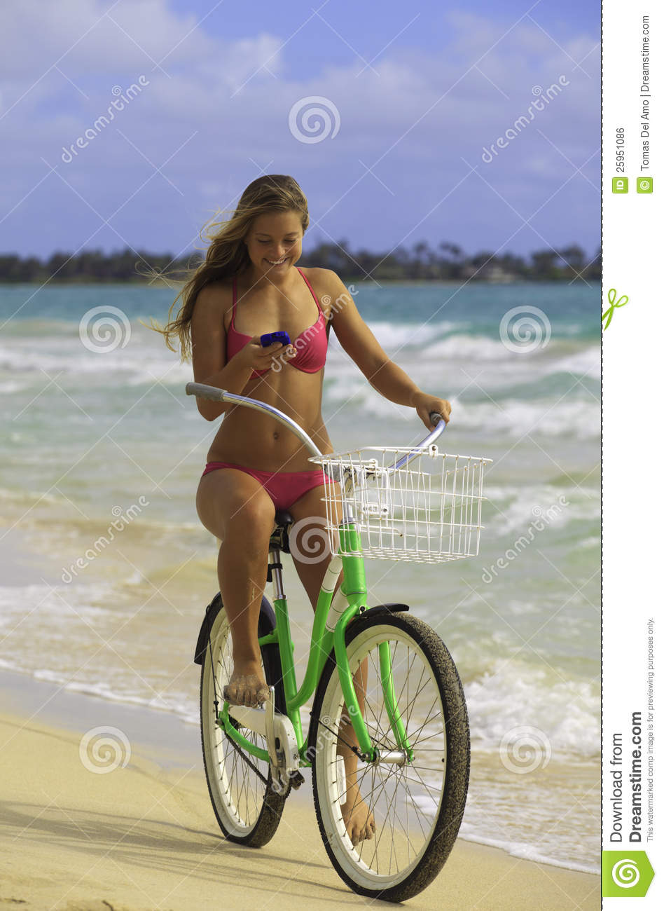 Biker Girl Wallpaper Free Download Girl On Bike At Beach Texting Stock Photo Image Of Waves