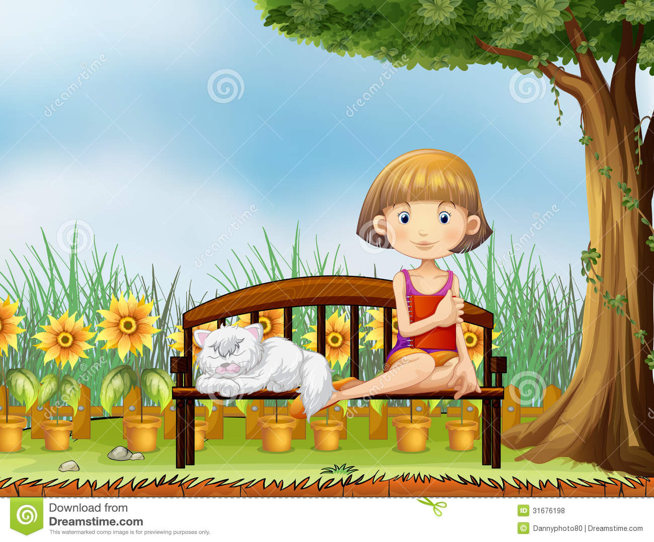 Garden doll stock image image 10613001 - Garden Doll Stock Image Image 10613001 A Girl With A Cat In The Garden Royalty Download