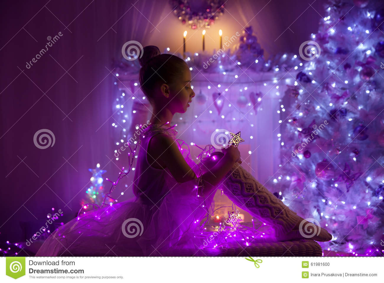 Fairy Lights Kids Room Girl Child Christmas Tree Lights Kid In Holiday Night
