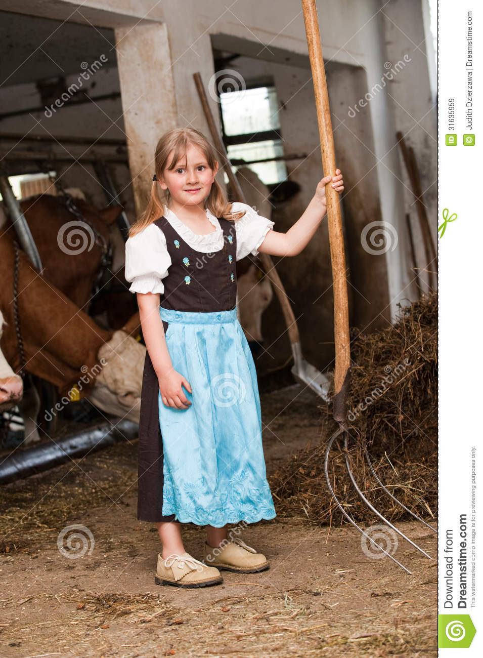 Little Girl Wallpaper Free Download Girl In A Cow Stable Stock Image Image Of Child Farm