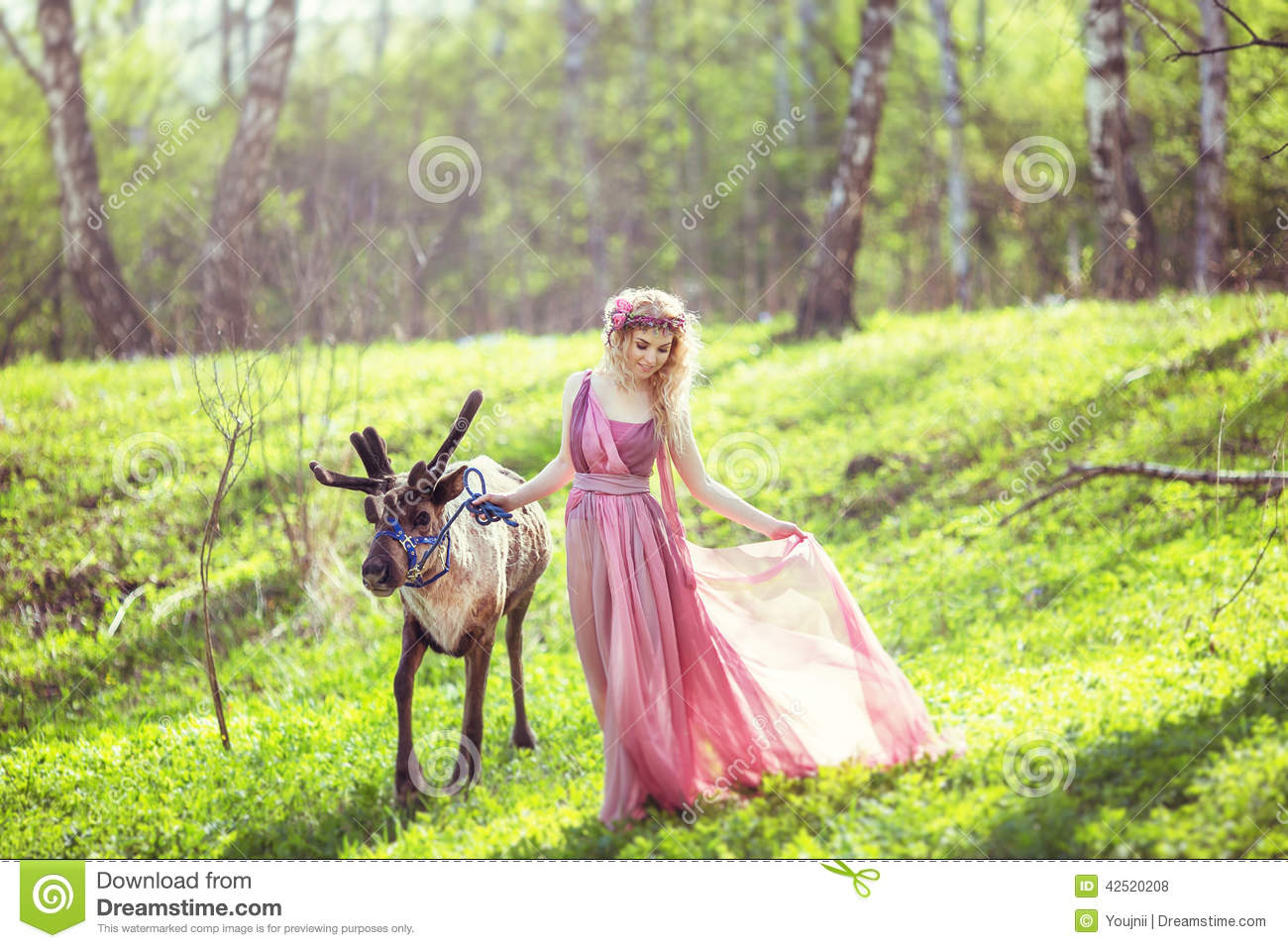 Blonde Girl In The Woods Wallpapers Girl In Fairy Dress With A Flowing Train Of Dress Walking