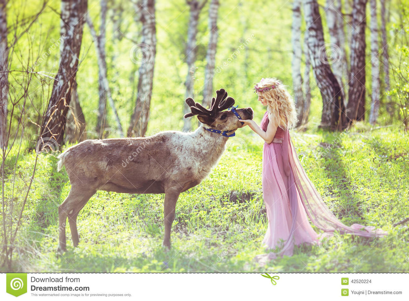 Cute Sleeping Babies Wallpapers Girl In Fairy Dress And Reindeer In The Forest Stock Photo