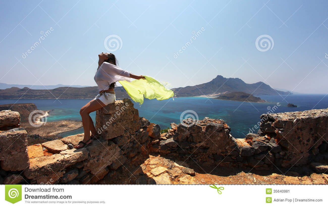 Summer Girl Wallpaper Girl With Green Yellow Scarf Stock Image Image 35640981